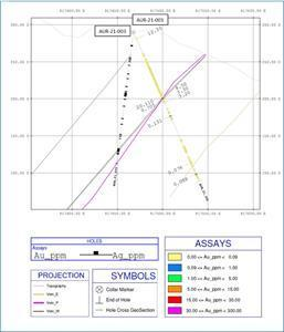 Section C with AUR-21-001 sampling and results, as well as the trajectory of the completed AUR-21-003 hole