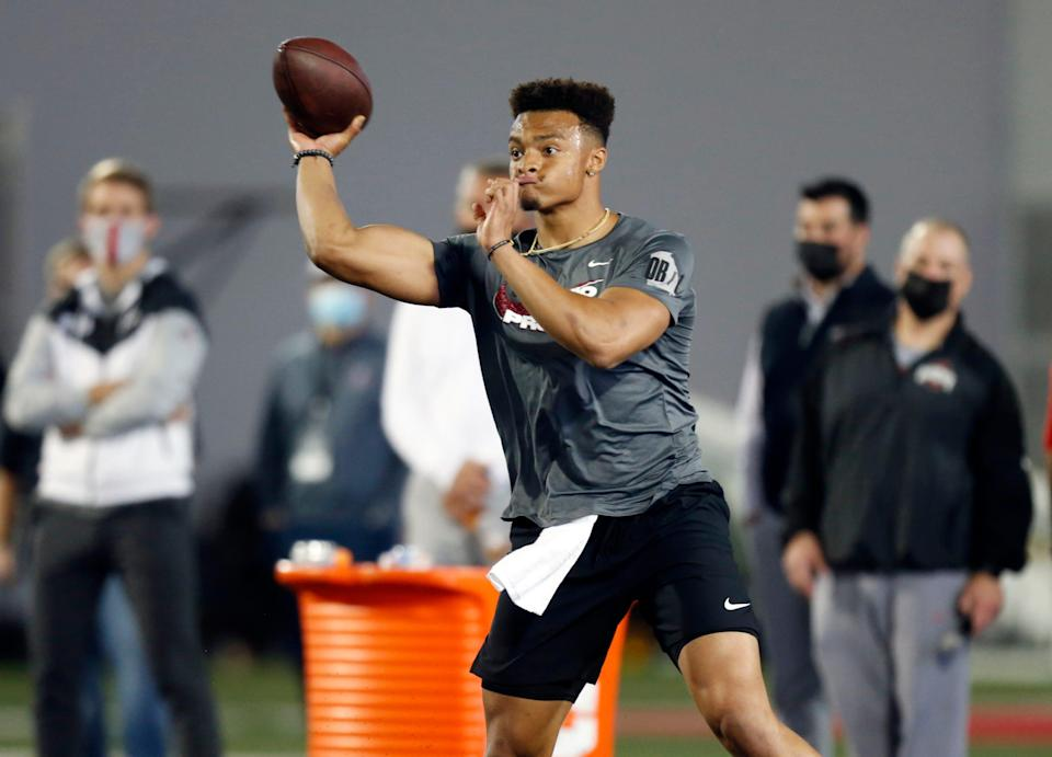 Quarterback Justin Fields throws as part of a drill during an NFL Pro Day at Ohio State University, Tuesday, March 30, 2021, in Columbus, Ohio.