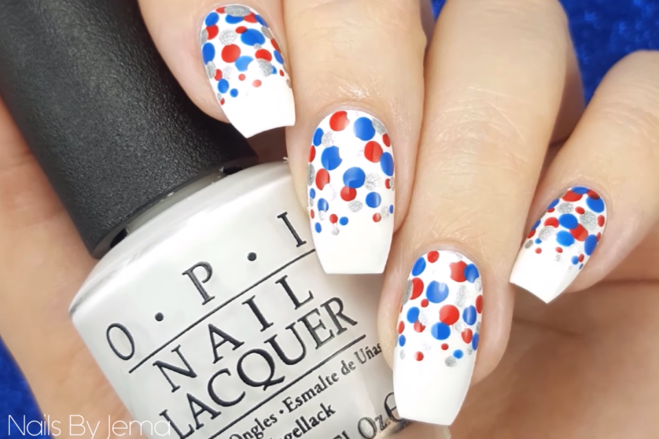 "<p>Three different types of dots — small, medium, and large — give these festive nails triple the depth (and triple the color!).</p><p><a class=""link rapid-noclick-resp"" href=""https://www.amazon.com/Double-Ended-Dotting-Marbling-Cheeky%C2%AE/dp/B005FJQQMC?tag=syn-yahoo-20&ascsubtag=%5Bartid%7C10055.g.1278%5Bsrc%7Cyahoo-us"" rel=""nofollow noopener"" target=""_blank"" data-ylk=""slk:SHOP DOTTING TOOLS"">SHOP DOTTING TOOLS</a></p><p><em><a href=""https://www.youtube.com/watch?v=qX_4R83QNzk"" rel=""nofollow noopener"" target=""_blank"" data-ylk=""slk:Get the tutorial on YouTube »"" class=""link rapid-noclick-resp"">Get the tutorial on YouTube »</a></em> </p>"