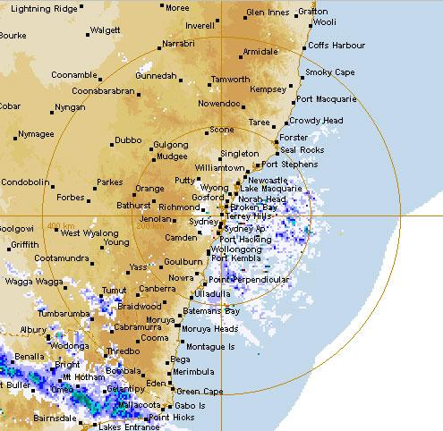 Focussed rain shown on weather map of Sydney and its surrounding areas. Rain will be dumped on the south and mid north coast.