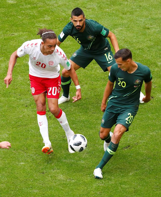 Soccer Football - World Cup - Group C - Denmark vs Australia - Samara Arena, Samara, Russia - June 21, 2018 Denmark's Yussuf Poulsen in action with Australia's Trent Sainsbury and Aziz Behich REUTERS/David Gray