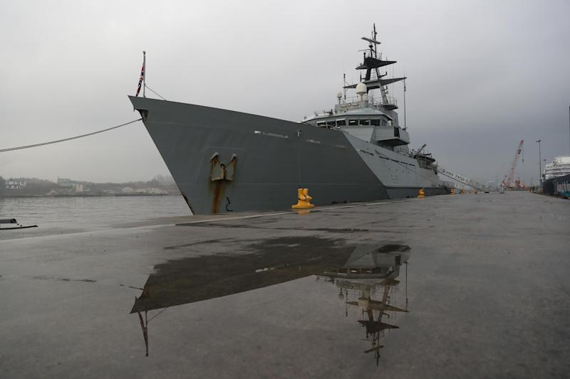 HMS Tyne sailed out to shadow the Russian vessel on Christmas Eve: PA