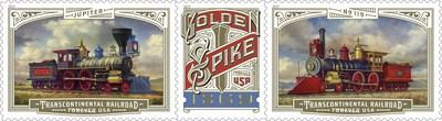 Photographs of replicas of the two locomotives at the Golden Spike National Historic Site were used as visual references for the stamp artwork. A third stamp portrays the famous golden spike that was a prominent part of the ceremony. Each of the stamps and the header feature gold-foiled highlights that produce a glimmering effect. The text Jupiter, No. 119, and FOREVER USA are in Brothers font by Emigre, Inc. Brothers is a trademark of Emigre, Inc. 2019 ©Emigre.