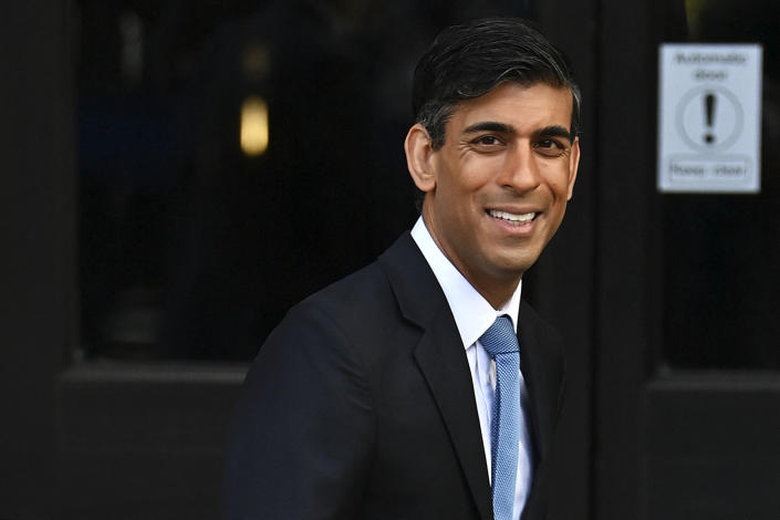 Britain's Chancellor of the Exchequer Rishi Sunak heads to the second day of the annual Conservative Party Conference being held at the Manchester Central convention centre in Manchester, north-west England, on October 4, 2021. (Photo by Paul ELLIS / AFP) (Photo by PAUL ELLIS/AFP via Getty Images)