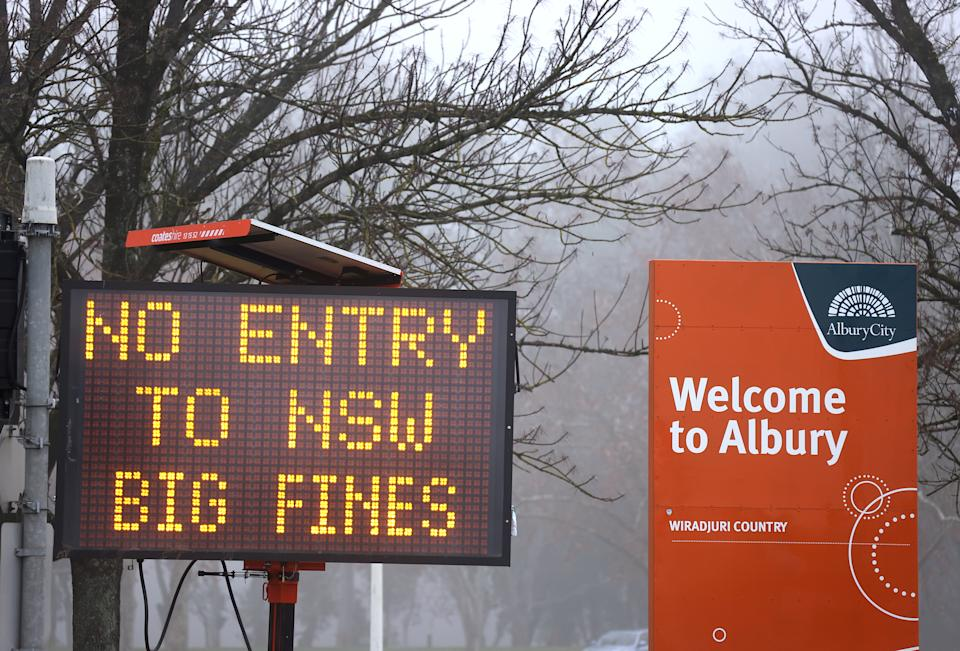 Two states are on alert after a NSW Covid cases leaked across the southern border. Source: Getty
