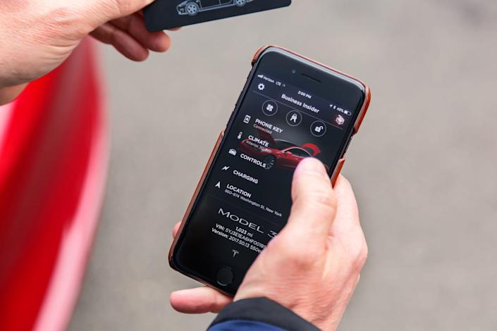 A view of the Tesla smartphone app.