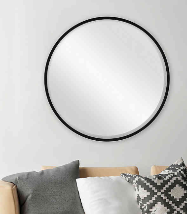26-Inch Round Metal Mirror in Black