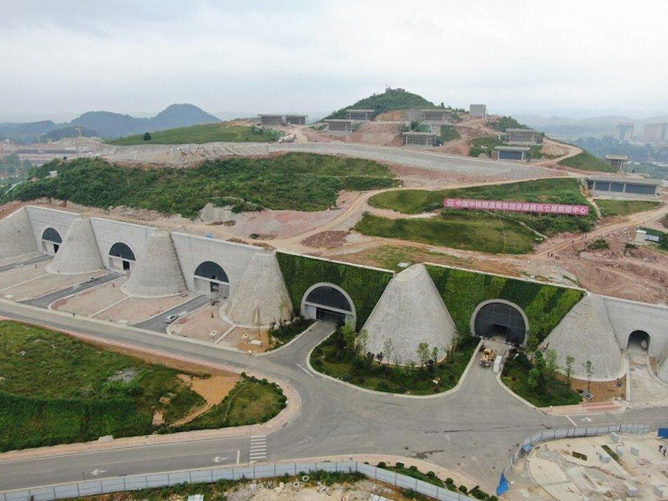 An aerial view of Tencent Holding's biggest data centre complex in the mountainous Gui'an New District, located in the city Anshun in southwest Guizhou province. Unlike local cloud services providers, foreign operators are constrained from building and operating their own data centres in China. Photo: Visual China Group via Getty Images