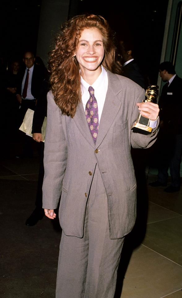 One of Julia Roberts's early red carpet appearances was in 1990 at the Golden Globes. Her quirky look included lots of hair and fabric.
