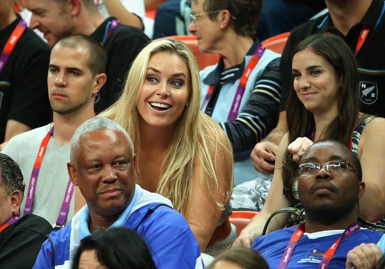 LONDON, ENGLAND - AUGUST 04:  American alpine ski racer Lindsey Vonn attends the Men's Basketball Preliminary Round match between United States and Lithuania on Day 8 of the London 2012 Olympic Games at the Basketball Arena on August 4, 2012 in London, England.  (Photo by Christian Petersen/Getty Images)