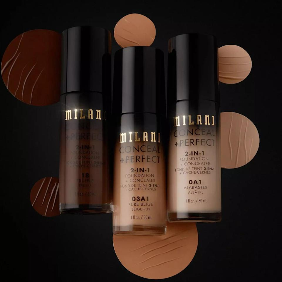 <p>Streamline your complexion routine with the <span>Milani Conceal + Perfect 2-in-1 Foundation + Concealer Cruelty-Free Liquid Foundation</span> ($9). You get full and buildable coverage for an even base from one product. </p>