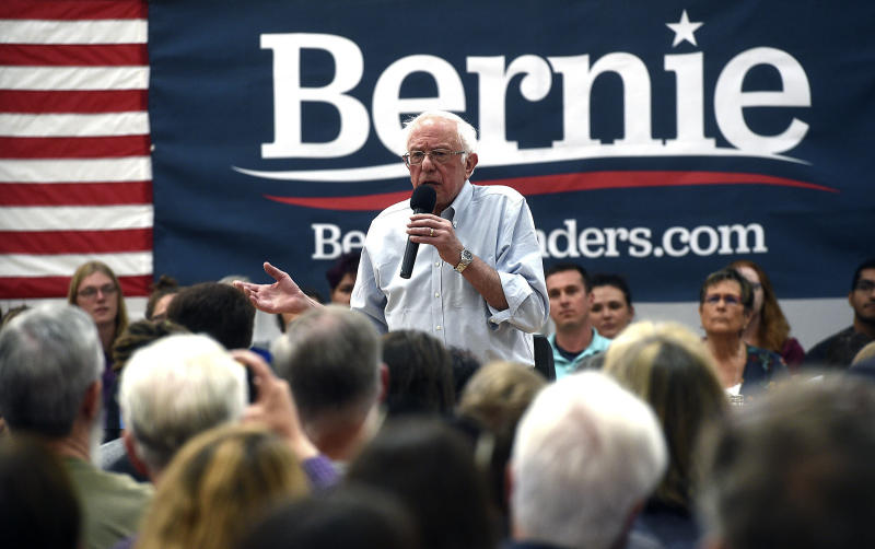 FILE - In this Sept. 13, 2019 file photo, Democratic presidential candidate Sen. Bernie Sanders speaks during a campaign stop at the Carson City Community Center Gymnasium in Carson City, Nev. (Jason Bean/The Reno Gazette-Journal via AP)
