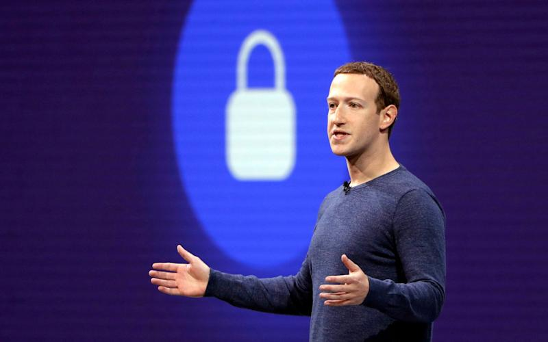 Mark Zuckerberg announcing the company's encryption plans for Messenger last April - AP