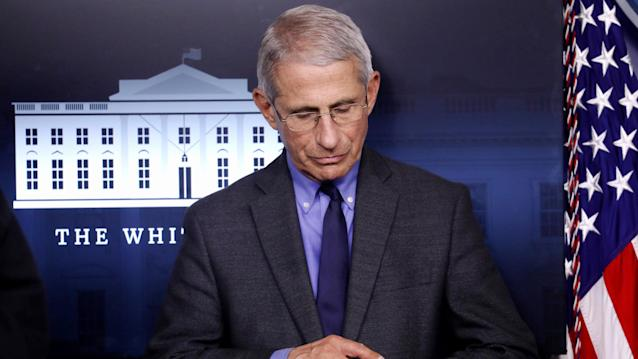 National Institute of Allergy and Infectious Diseases Director Dr. Anthony Fauci attends the daily coronavirus task force briefing at the White House in Washington, U.S., April 13, 2020. (REUTERS/Leah Millis)