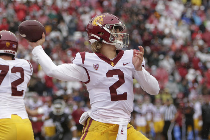 Southern California quarterback Jaxson Dart throws a pass during the first half of an NCAA college football game against Washington State, Saturday, Sept. 18, 2021, in Pullman, Wash. (AP Photo/Young Kwak)