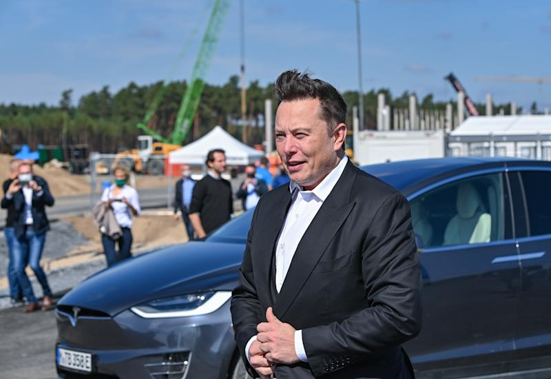 03 September 2020, Brandenburg, Grünheide: Elon Musk, head of Tesla, stands on the construction site of the Tesla Gigafactory. In Grünheide near Berlin, a maximum of 500,000 vehicles per year are to roll off the assembly line starting in July 2021. According to the plans of the car manufacturer, the maximum is to be reached as quickly as possible. Photo: Patrick Pleul/dpa-Zentralbild/ZB (Photo by Patrick Pleul/picture alliance via Getty Images)