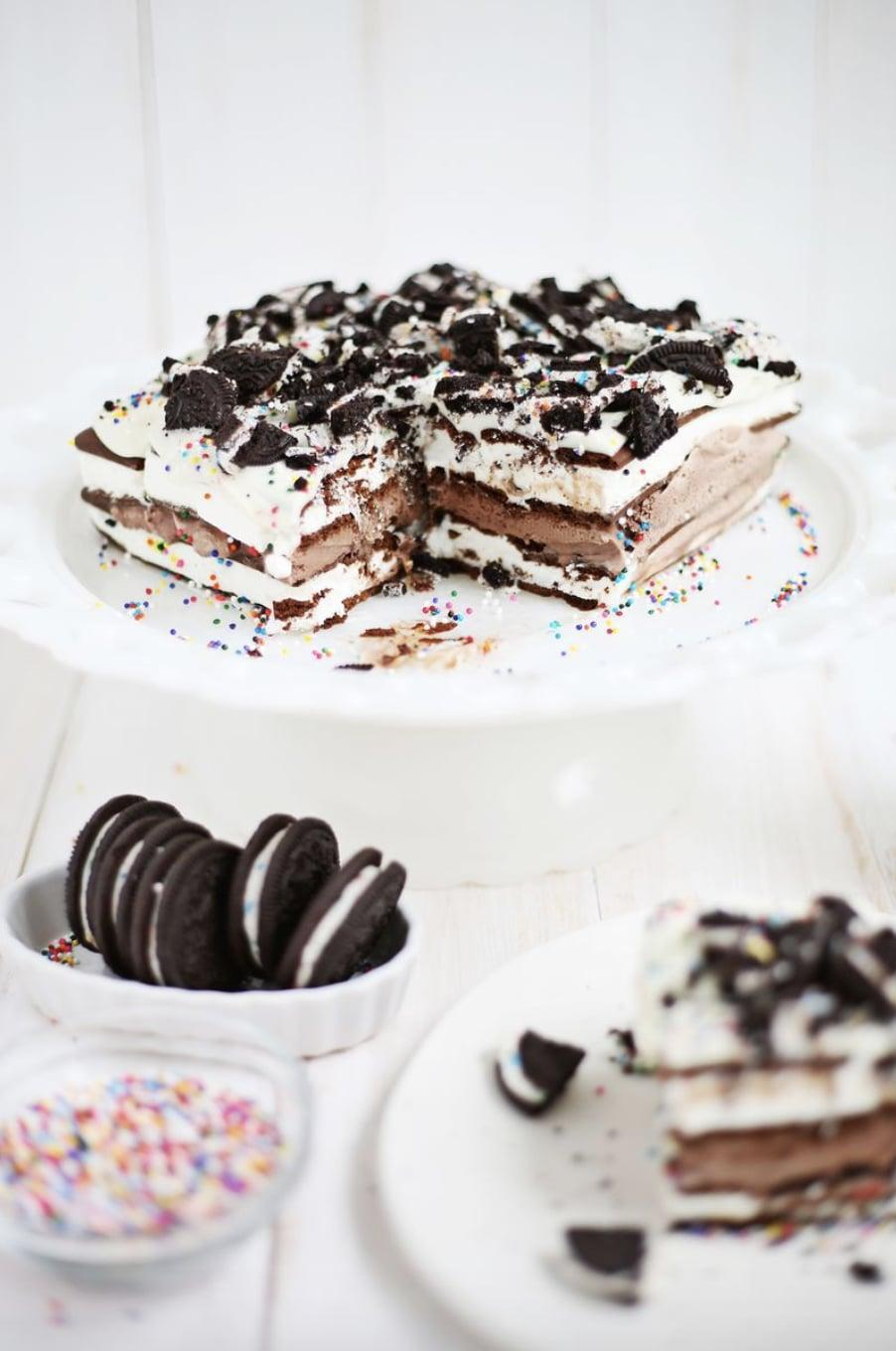 """<p>As the weather starts to heat up, at-home bakers are looking for something to cool them off. Cue ice cream cakes. Rich, cold, and oh-so sweet, these treats are the best of the bunch.</p> <p><strong>Get the recipe</strong>: <a href=""""https://abeautifulmess.com/2014/07/easiest-ever-ice-cream-cake.html"""" class=""""link rapid-noclick-resp"""" rel=""""nofollow noopener"""" target=""""_blank"""" data-ylk=""""slk:ice cream cake"""">ice cream cake</a></p>"""