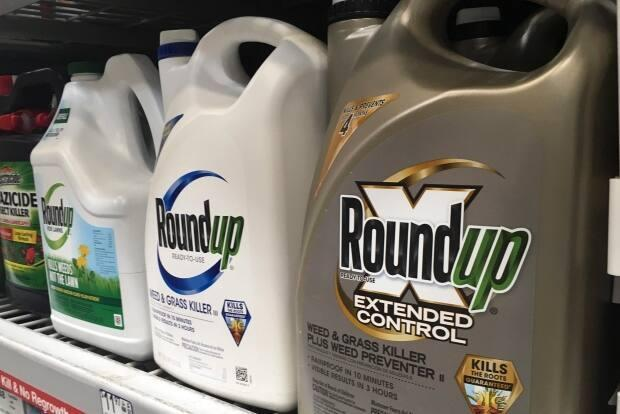 Glyphosate is found in some types of Roundup. Laval also banning the use of neonicotinoids as well as the cosmetic use of pesticides on lawns.  (Haven Daley/The Canadian Press/AP - image credit)