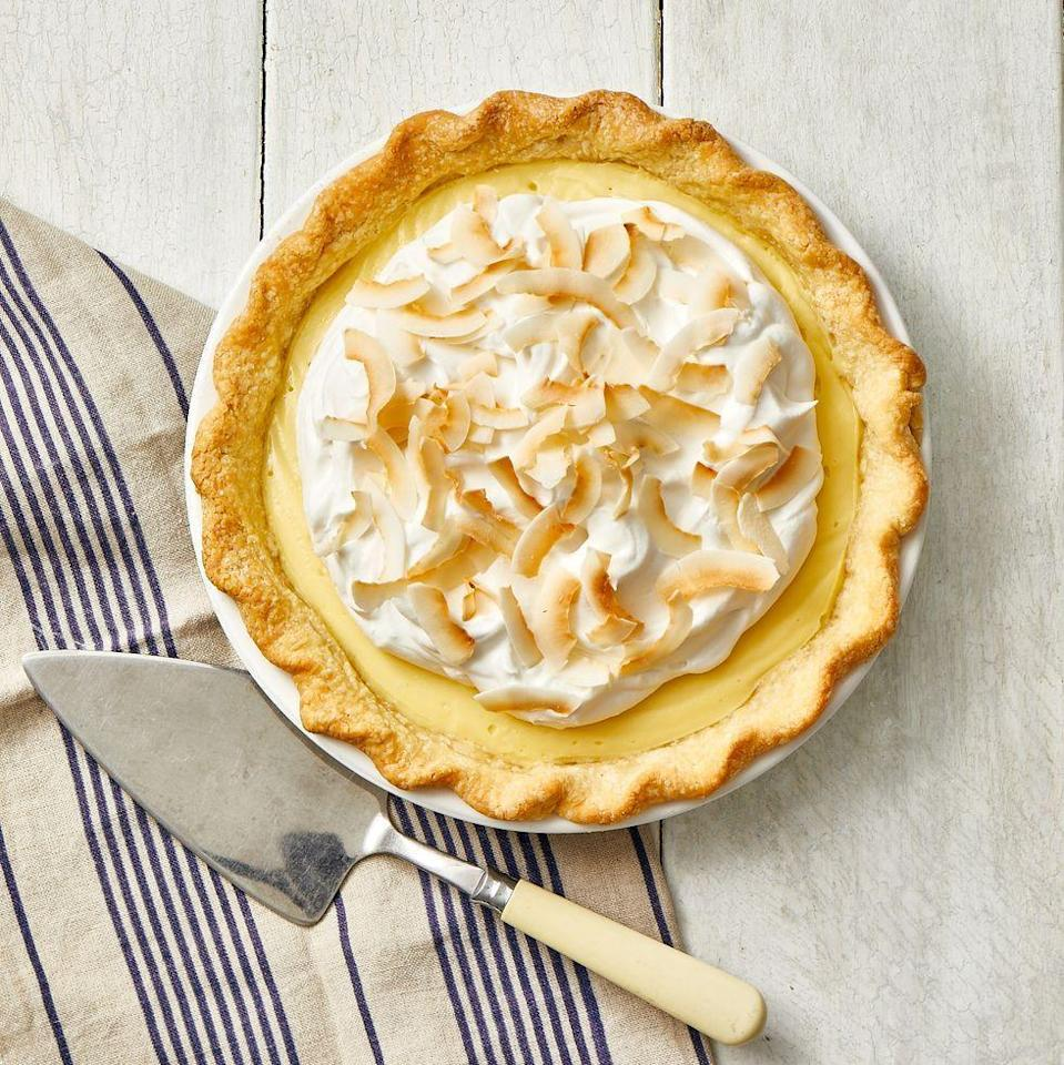 "<p>If you really want to make this a standout dessert, make your own pie crust. Then, you'll fill it with creamy custard and top with homemade whipped cream.</p><p><a href=""https://www.goodhousekeeping.com/food-recipes/a35433240/coconut-cream-pie-recipe/"" rel=""nofollow noopener"" target=""_blank"" data-ylk=""slk:Get the recipe for Coconut Cream Pie »"" class=""link rapid-noclick-resp""><em>Get the recipe for Coconut Cream Pie »</em></a></p>"