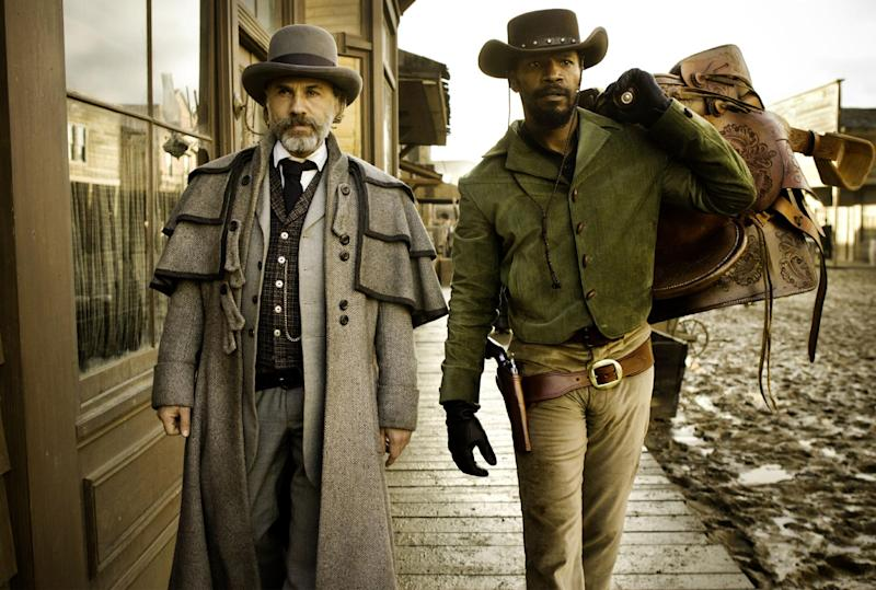 """FILE - This undated publicity file image released by The Weinstein Company shows, from left, Christoph Waltz as Schultz and Jamie Foxx as Django in the film """"Django Unchained,"""" directed by Quentin Tarantino. A line of action figures of the movie's main characters are currently on sale online, made by toy-maker NECA in partnership with the Weinstein Co. On Tuesday, Jan. 8, 2013, Najee Ali, director of the advocacy group Project Islamic Hope, will hold a press conference with other Los Angeles black community leaders calling for the removal of the toys from the market.   (AP Photo/The Weinstein Company, Andrew Cooper, SMPSP, File)"""