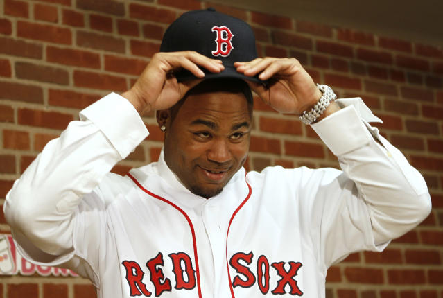 Carl Crawford declined mightily after joining Boston. (AP Photo/Winslow Townson)