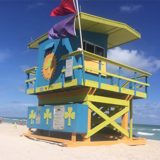 "<p>During a too quick visit to <a href=""https://www.yahoo.com/travel/miami-like-a-local-youve-been-seeing-this-city-080057761.html"" data-ylk=""slk:Miami Beach;outcm:mb_qualified_link;_E:mb_qualified_link;ct:story;"" class=""link rapid-noclick-resp yahoo-link"">Miami Beach</a>, I snapped this picture of this wonderful lifeguard stand. Lucky for my shot, there was marine life (jellyfish) and rough water, thus the red and purple warning flags. <i>—Charles McCool, <a href=""http://www.mccooltravel.com/"" rel=""nofollow noopener"" target=""_blank"" data-ylk=""slk:McCool Travel"" class=""link rapid-noclick-resp"">McCool Travel</a></i></p>"