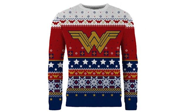 "<p>Nothing ugly about it, but we'd still wear it to every appropriate ugly Christmas sweater occasion on our holiday calendar. <strong><a href=""https://www.merchoid.com/product/wonder-woman-winter-wonder-land-christmas-sweater-jumper/"" rel=""nofollow noopener"" target=""_blank"" data-ylk=""slk:Buy here"" class=""link rapid-noclick-resp"">Buy here</a></strong> </p>"