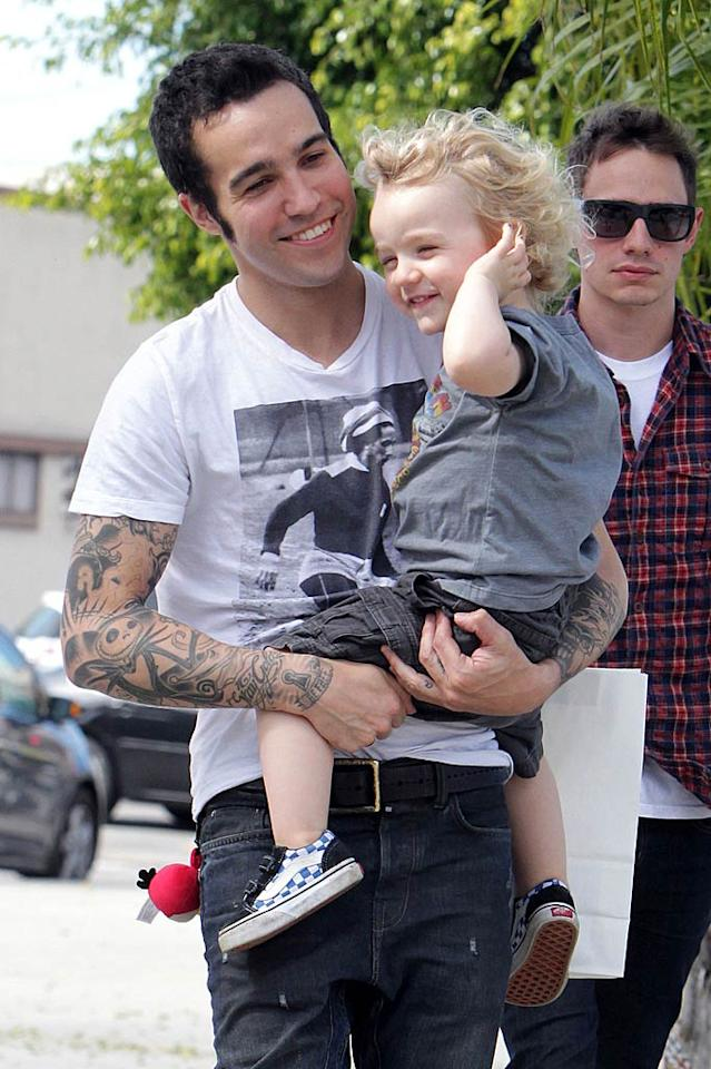 """Pete Wentz and his son Bronx were all smiles while out and about in Los Angeles Tuesday. Think the former Fall Out Boy bassist and Bronx's mama Ashlee Simpson are working towards a reconciliation? Juan Sharma/<a href=""""http://www.PacificCoastNews.com"""" target=""""new"""">PacificCoastNews.com</a> - April 5, 2011"""