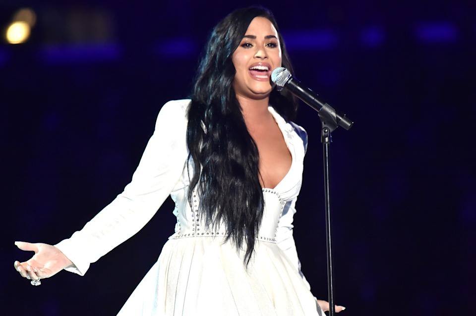 Lovato gave an emotional performance at the 2020 Grammys. (Photo: Jeff Kravitz/FilmMagic)