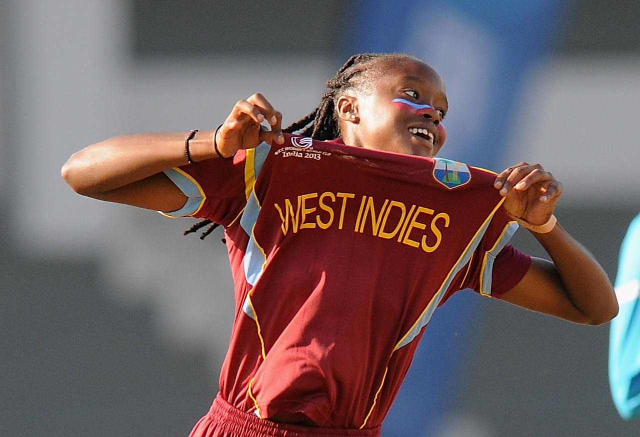 MUMBAI, INDIA - FEBRUARY 17:  Shaquana Quintyne of West Indies celebrates the wicket of Sarah Coyte of Australia during the final between Australia and West Indies held at the CCI (Cricket Club of India) stadium on February 17, 2013 in Mumbai, India.  (Photo by Pal Pillai/Getty Images)