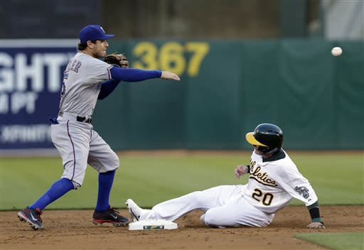 Texas Rangers second baseman Ian Kinsler, left, forces out Oakland Athletics' Josh Donaldson (20) at second base on a ground ball from Daric Barton during the second inning of a baseball game on Monday, May 13, 2013 in Oakland. Calif. Barton was safe at first base. (AP Photo/Marcio Jose Sanchez)