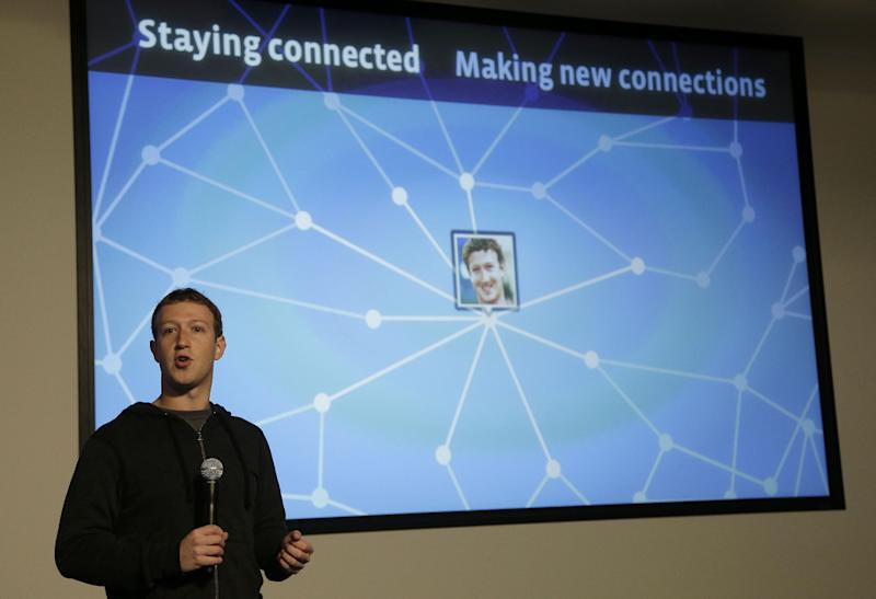 Facebook CEO Mark Zuckerberg speaks about Facebook Graph Search at a Facebook headquarters in Menlo Park, Calif., Tuesday, Jan. 15, 2013. The new service lets users search their social connections for information about their friends' interests, and for photos and places. (AP Photo/Jeff Chiu)
