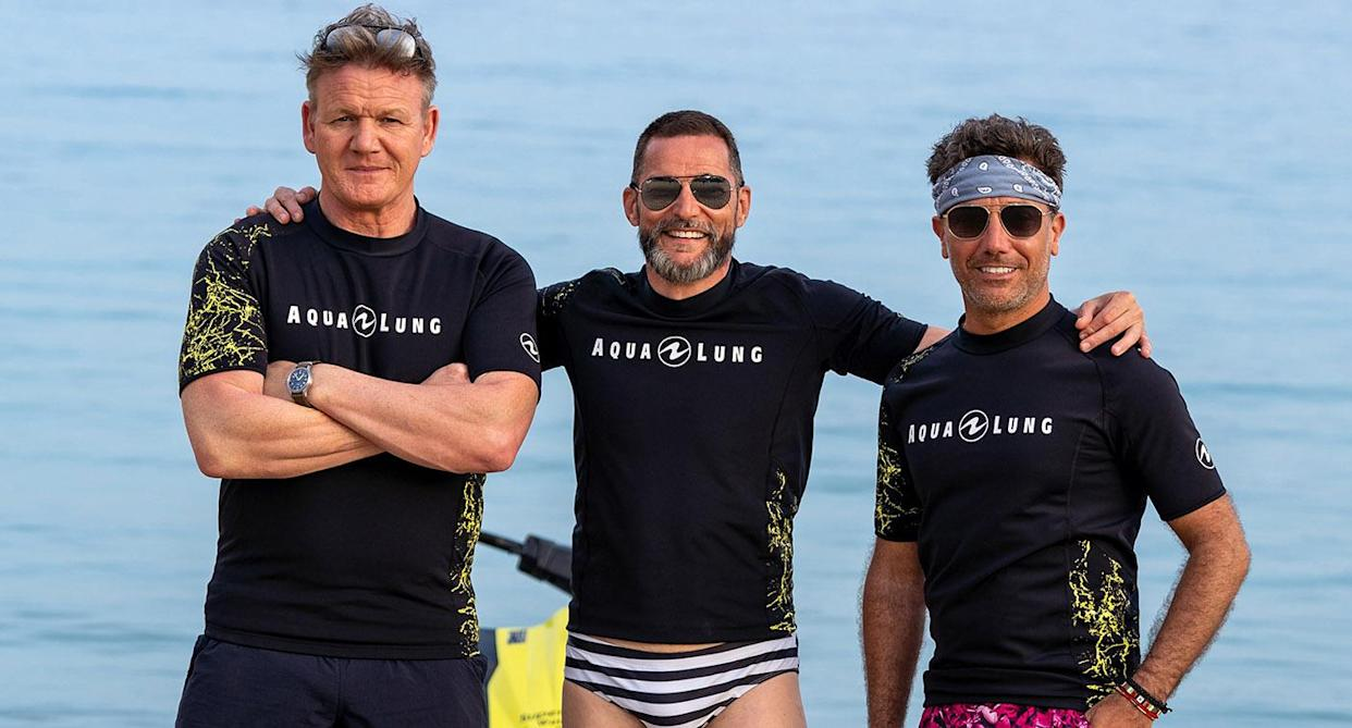 EMBARGOED PICTURE: FOR PUBLICATION FROM TUESDAY 21ST SEPTEMBER 20201 From Studio Ramsay   GORDON, GINO, FRED GO GREEK MAMMA MIA Monday 27th September 2021 on ITV   Pictured : Gordon Ramsay Fred Sirieix and Gino D'Acampo take to the sea off Crete on  jet ski's.   Having previously traversed America's west coast to explore flavours of the new world, this time out Gordon, Gino and Fred travel to Greece to immerse themselves in the culinary traditions and spectacular landscapes of the old world, in the birthplace of civilisation. The taste buddies embark on an island-hopping tour, keen to learn more about the Mediterranean diet and how the country has one of the healthiest populations in the world. Gino's right at home, declaring himself El Capitano and taking charge of their catamaran - stand by for a bumpy ride. Highlights include the boys hunting and cooking a unique species of lobster in Crete, touring the islands by tuk-tuk and jet ski, taking a mud bath in a volcanic spring in stunning Santorini, as well as chowing down on mouth-watering moussaka, and finally, tickling their taste buds with a hugely popular local speciality: the Mykonos sausage.  (C) Studio Ramsay  For further information please contact Peter Gray 07831 460 662 peter.gray@itv.com    This photograph is © Studio Ramsay and can only be reproduced for editorial purposes directly in connection with the  programme GORDON, GINO, FRED GO GREEK or ITV. Once made available by the ITV Picture Desk, this photograph can be reproduced once only up until the Transmission date and no reproduction fee will be charged. Any subsequent usage may incur a fee. This photograph must not be syndicated to any other publication or website, or permanently archived, without the express written permission of ITV Picture Desk. Full Terms and conditions are available on the website https://www.itv.com/presscentre/itvpictures/terms
