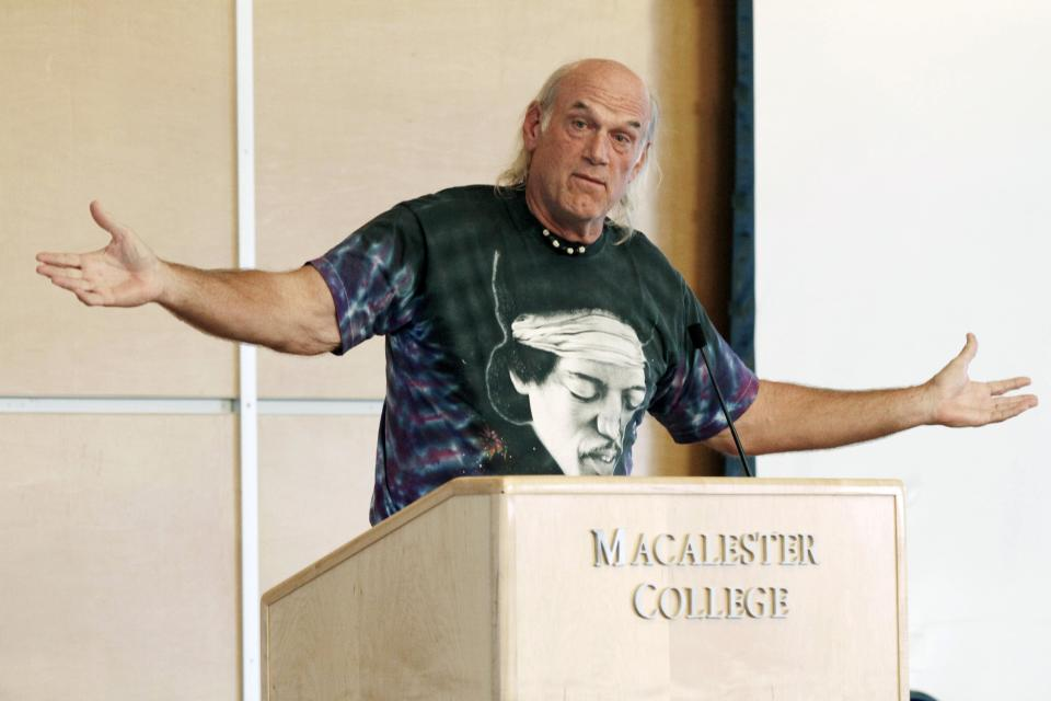 FILE - In this Sept. 21, 2012 file photo, former Minnesota Gov. Jessie Ventura, wearing a shirt featuring guitarist Jimi Hendrix, speaks at Macalester College in St. Paul, Minn. Former Minnesota Gov. Jesse Ventura is back from his part-time home in Mexico and eagerly spreading the idea he could run for the U.S. presidency in 2016, Friday, May 31, 2013. (AP Photo/Jim Mone, File)