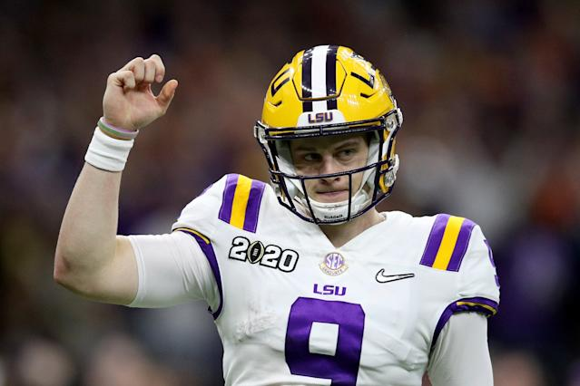 "Louisiana State quarterback Joe Burrow celebrates after a touchdown against Clemson during the College Football Playoff National Championship game on Jan. 13. <span class=""copyright"">(Chris Graythen / Getty Images)</span>"