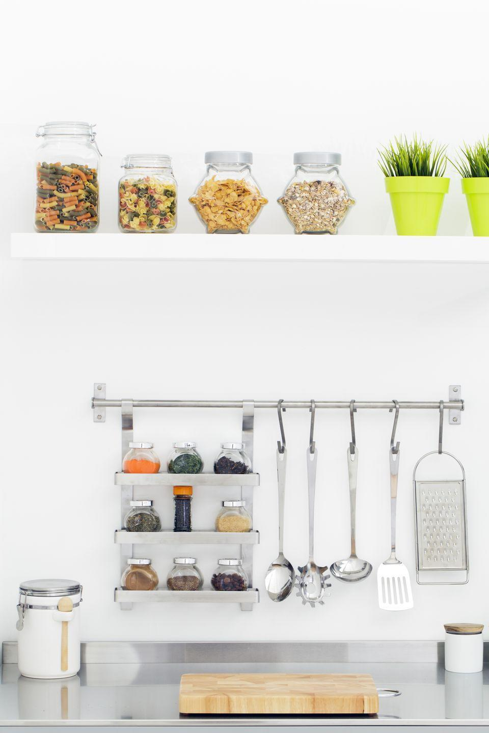 <p>It looks cute (so you won't seeing it every day), and puts towels, measuring spoons, mugs or whatever else you like within easy reach.</p>