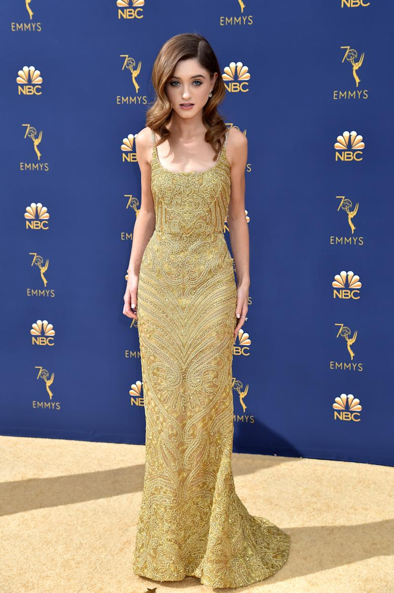 LOS ANGELES, CA - SEPTEMBER 17: Natalia Dyer attends the 70th Emmy Awards at the Microsoft Theater on September 17, 2018 in Los Angeles, California. (Photo by Jeff Kravitz / FilmMagic)