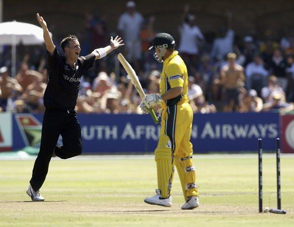 The speedy Shane Bond knocks over Ian Harvey's middle-stump as he bagged 6 wickets for 23 runs.