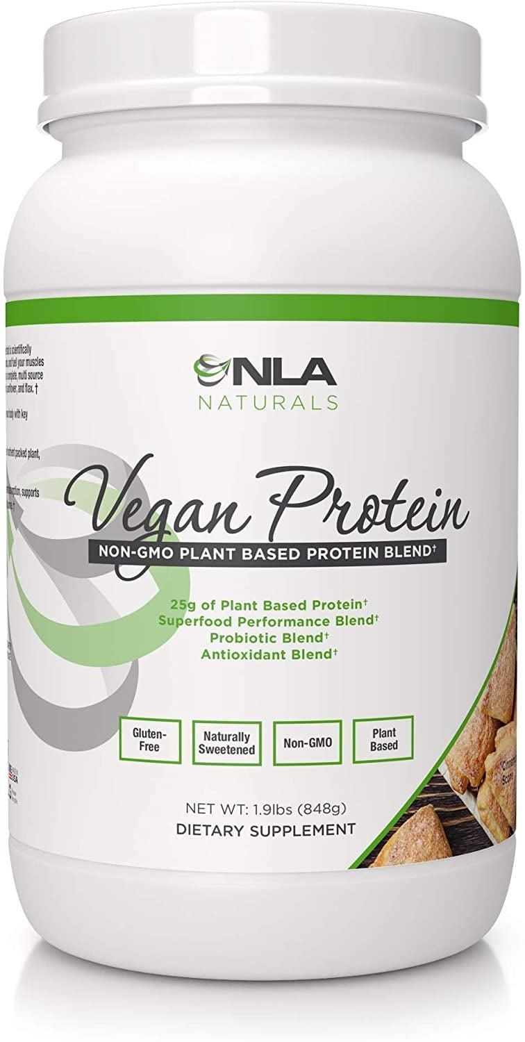 <p>Equally warm in flavor, try this <span>NLA Naturals Vegan Protein Powder in Cinnamon Scone </span> ($50). One serving offers 25 grams of plant-based protein. </p>