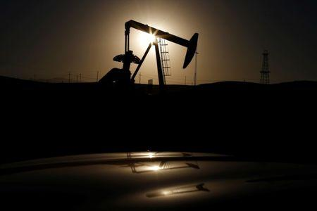 A pump jack is seen at sunrise near Bakersfield