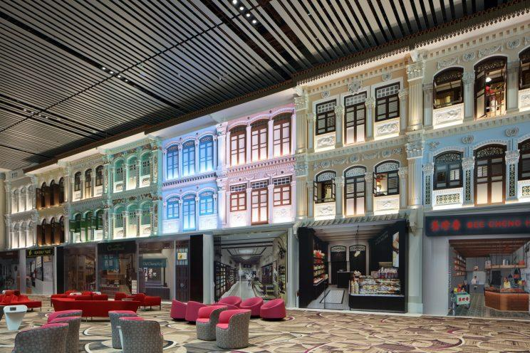 Changi Airport celebrates Singaporean culture at the Heritage Zone, where passengers will find iconic shophouse facades that represent the evolution of architecture in Singapore from the 1880s to the 1950s. (Photo: Changi Airport Group)