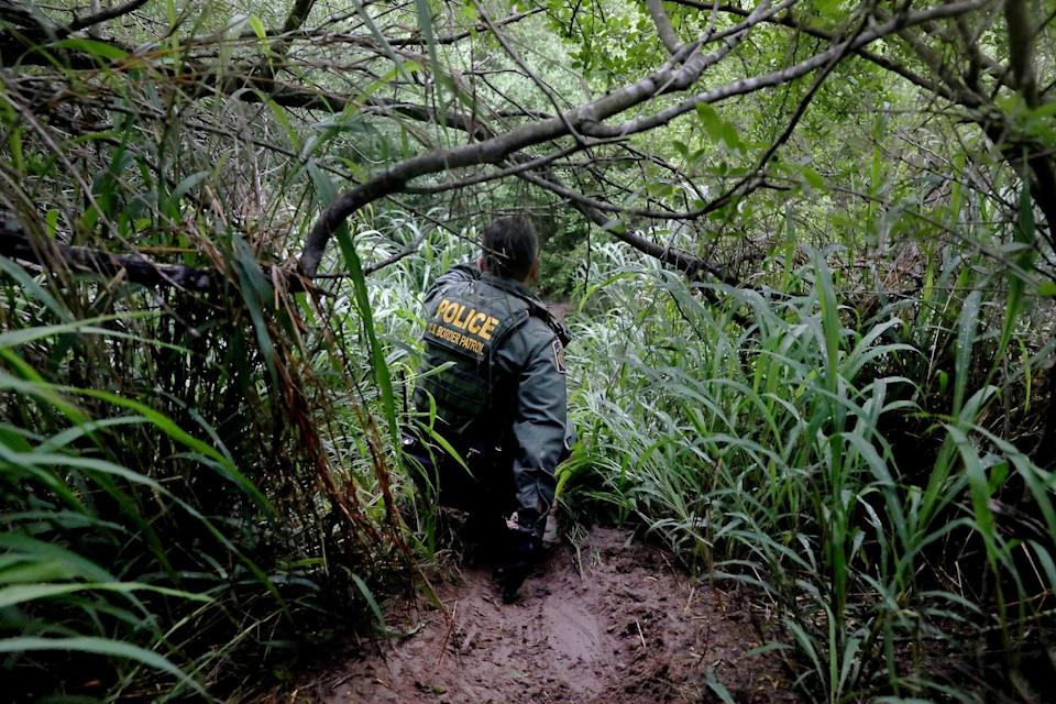 A Border Patrol agent in uniform navigates muddy ground and low tree branches