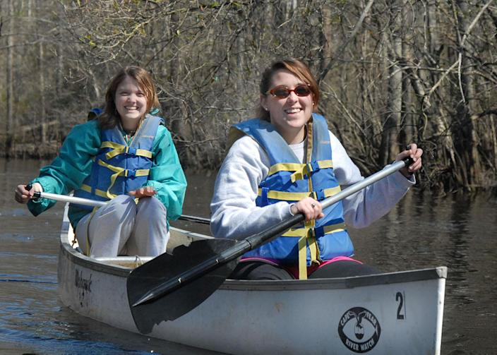 <p>Paddling a canoe on the Black River, a tributary of the Cape Fear River. (Photo: Cape Fear Riverwatch) </p>
