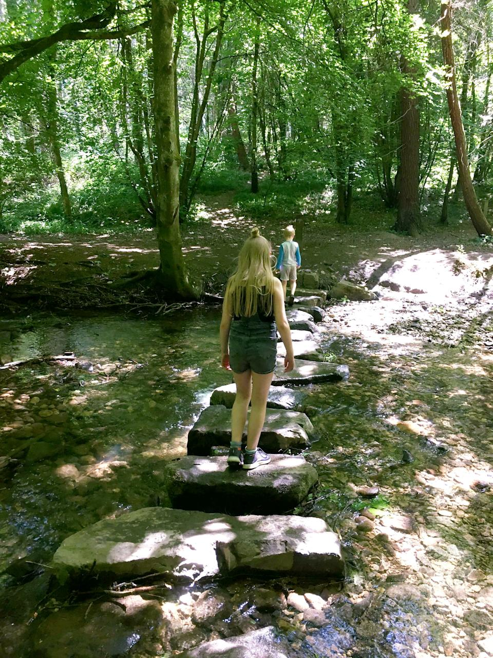 They went for a hike near their Welsh home - and pretended it was the Dordogne (SWNS)