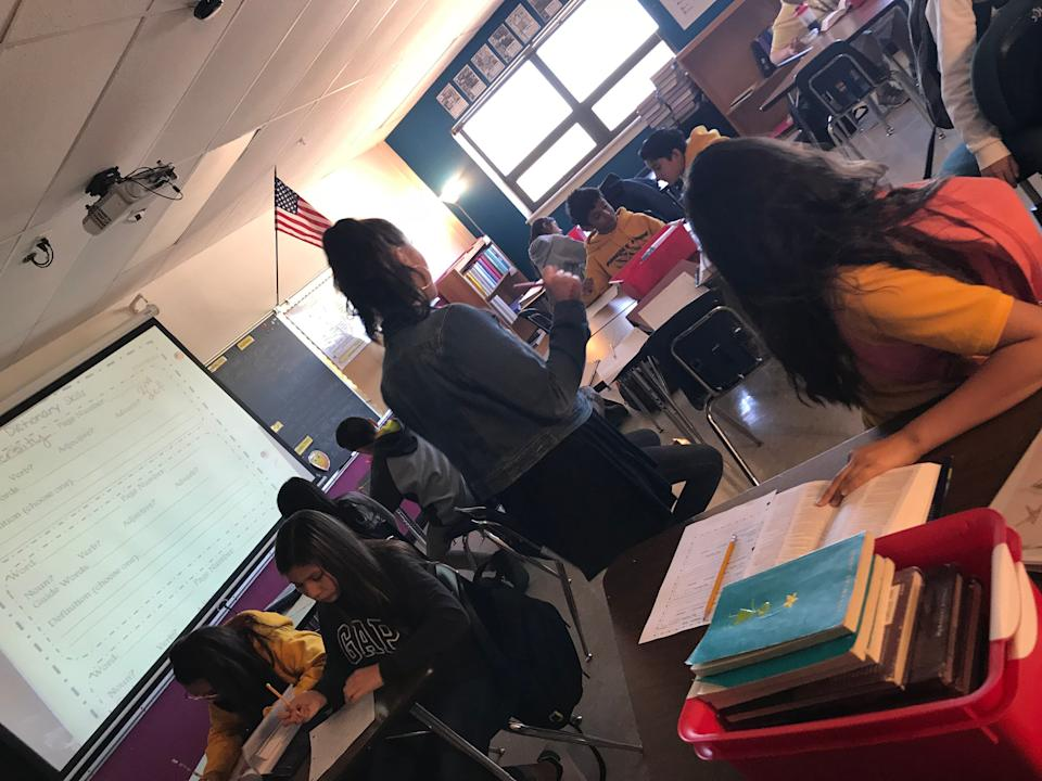 Malorie Weber teaches an English class at Parades Middle School in Austin. (Credit: Malorie Weber)