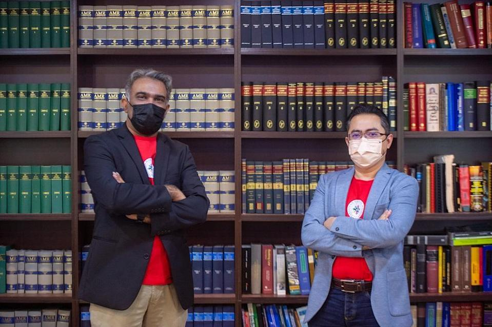 Co-founders of Father's Rights Association Malaysia (FRAM) Malcolm Fernandez and Sheikh Faleigh Sheikh Mansor.