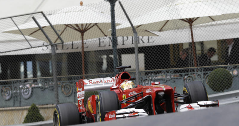 Ferrari driver Fernando Alonso of Spain steers his car during the third free practice at the Monaco racetrack, in Monaco, Saturday, May 25, 2013. The Formula one race will be held on Sunday. (AP Photo/Luca Bruno)