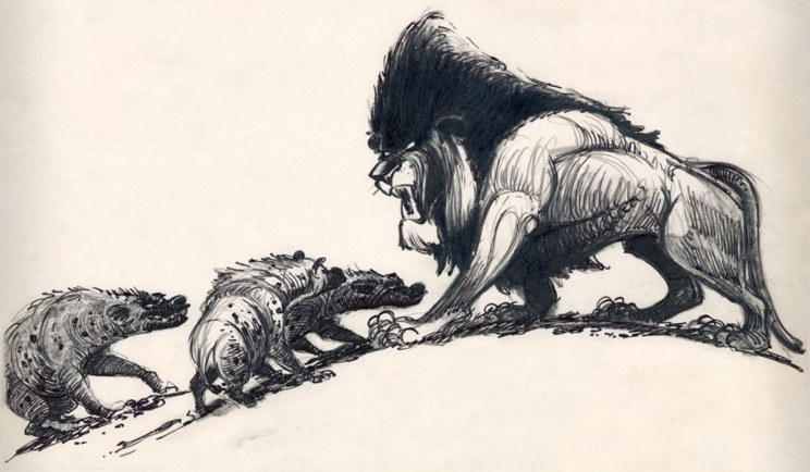Concept art of Scar and Banagi in The Lion King. Credit - Disney