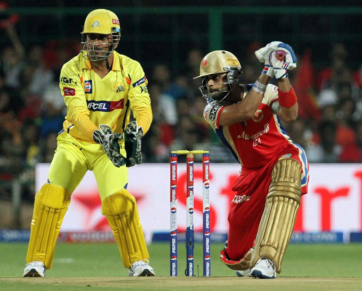Royal Challengers Bangalore captain Virat Kohli plays a shot during match 70 of the Pepsi Indian Premier League between The Royal Challengers Bangalore and The Chennai Super Kings held at the M. Chinnaswamy Stadium, Bengaluru  on the 18th May 2013. (BCCI)