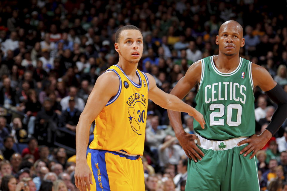 Stephen Curry can break Ray Allen's playoff career 3-point field goals record this season. (Getty Images)